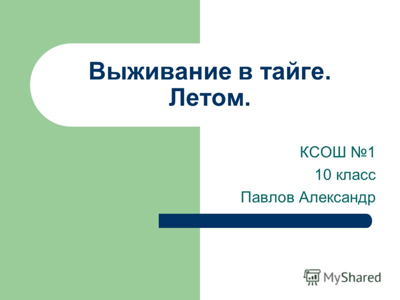 Выживание в тайге. Летом. КСОШ 1 10 класс Павлов Александр