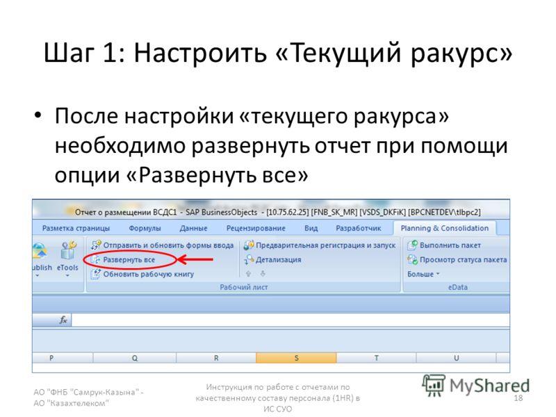 Шаг 1: Настроить «Текущий ракурс» После настройки «текущего ракурса» необходимо развернуть отчет при помощи опции «Развернуть все» АО