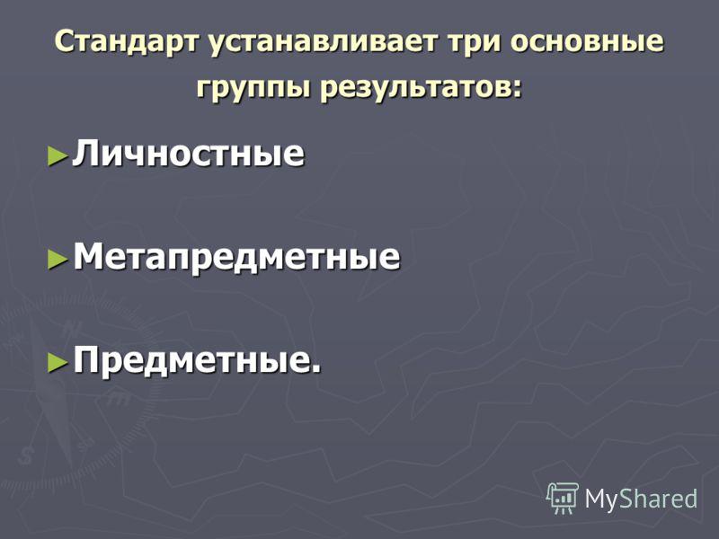 Стандарт устанавливает три основные группы результатов: Личностные Личностные Метапредметные Метапредметные Предметные. Предметные.