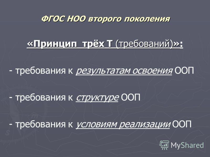 ФГОС НОО второго поколения «Принцип трёх Т (требований)» «Принцип трёх Т (требований)»: - требования к результатам освоения ООП - требования к структуре ООП - требования к условиям реализации ООП
