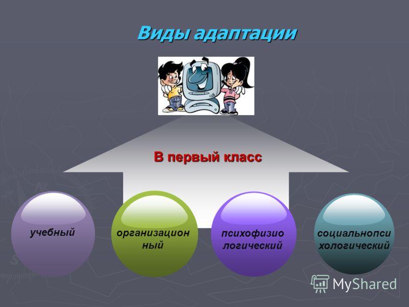 Виды адаптации В первый класс учебный организацион ный психофизио логический социальнопси хологический