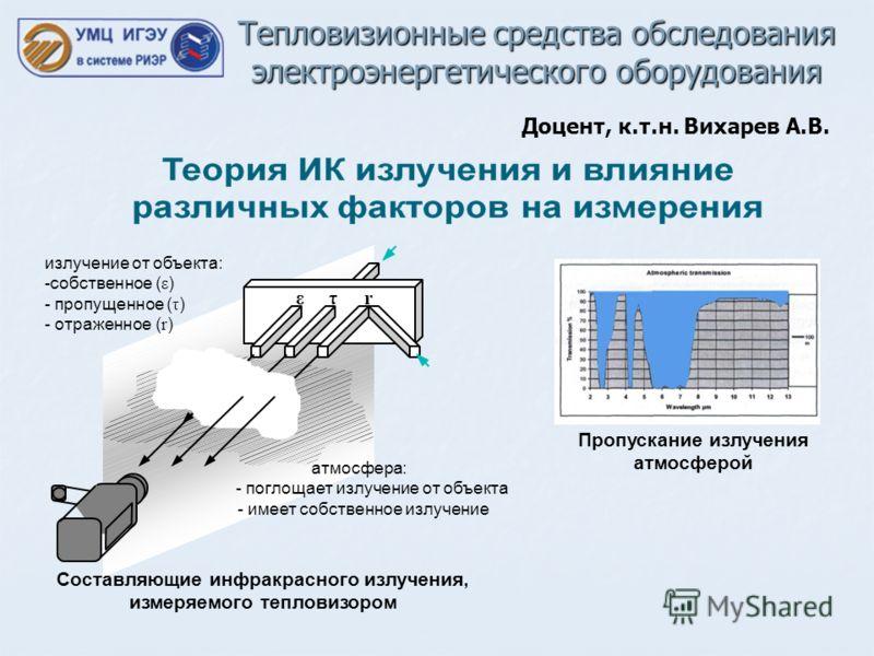 Тепловизионные средства обследования электроэнергетического оборудования Доцент, к.т.н. Вихарев А.В. ε r τ атмосфера: - поглощает излучение от объекта - имеет собственное излучение Составляющие инфракрасного излучения, измеряемого тепловизором излуче