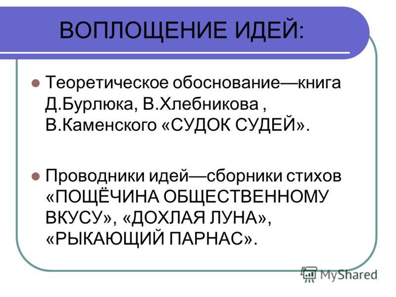 ВОПЛОЩЕНИЕ ИДЕЙ: Теоретическое обоснованиекнига Д.Бурлюка, В.Хлебникова, В.Каменского «СУДОК СУДЕЙ». Проводники идейсборники стихов «ПОЩЁЧИНА ОБЩЕСТВЕННОМУ ВКУСУ», «ДОХЛАЯ ЛУНА», «РЫКАЮЩИЙ ПАРНАС».