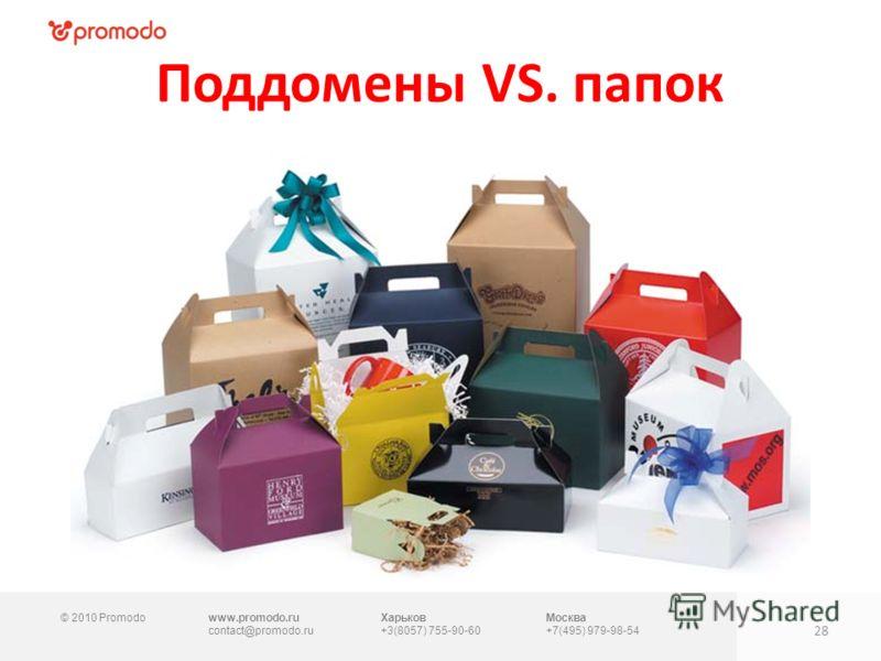 © 2010 Promodowww.promodo.ru contact@promodo.ru Харьков +3(8057) 755-90-60 Москва +7(495) 979-98-54 Поддомены VS. папок 28
