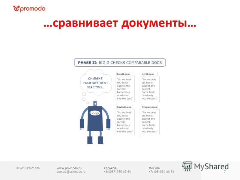 © 2010 Promodowww.promodo.ru contact@promodo.ru Харьков +3(8057) 755-90-60 Москва +7(495) 979-98-54 …сравнивает документы… 7