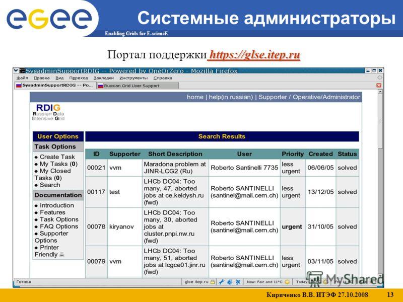 Кириченко В.В. ИТЭФ 27.10.2008 13 Enabling Grids for E-sciencE Системные администраторы https://glse.itep.ru Портал поддержки https://glse.itep.ru