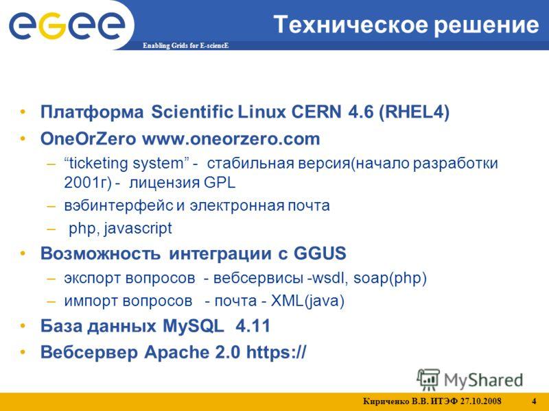 Кириченко В.В. ИТЭФ 27.10.2008 4 Enabling Grids for E-sciencE Техническое решение Платформа Scientific Linux CERN 4.6 (RHEL4) OneOrZero www.oneorzero.com –ticketing system - стабильная версия(начало разработки 2001г) -лицензия GPL –вэбинтерфейс и эле