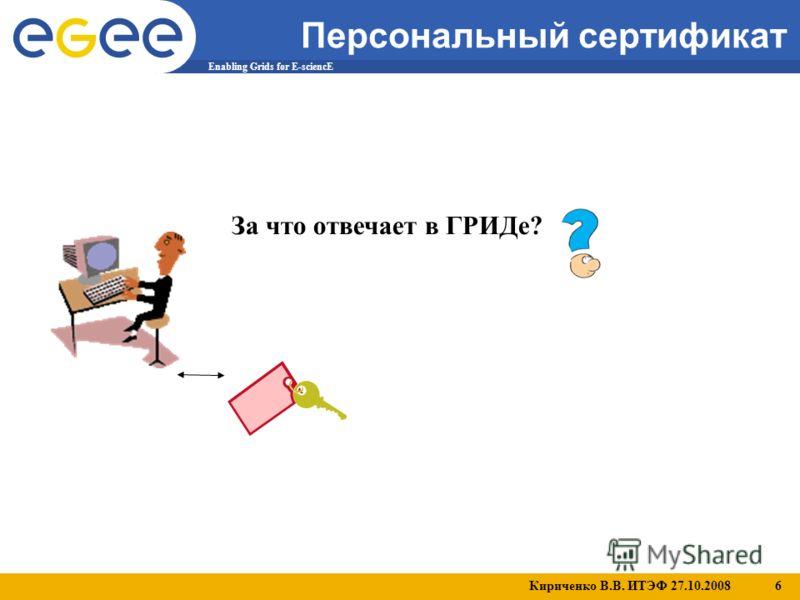 Кириченко В.В. ИТЭФ 27.10.2008 6 Enabling Grids for E-sciencE Персональный сертификат За что отвечает в ГРИДе?