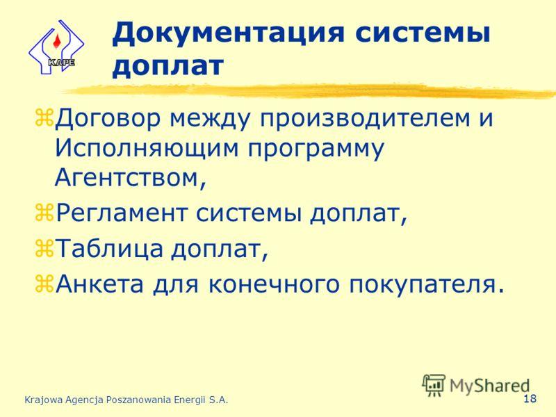 Krajowa Agencja Poszanowania Energii S.A. 18 Документация системы доплат zДоговор между производителем и Исполняющим программу Агентством, zРегламент системы доплат, zТаблица доплат, zАнкета для конечного покупателя.