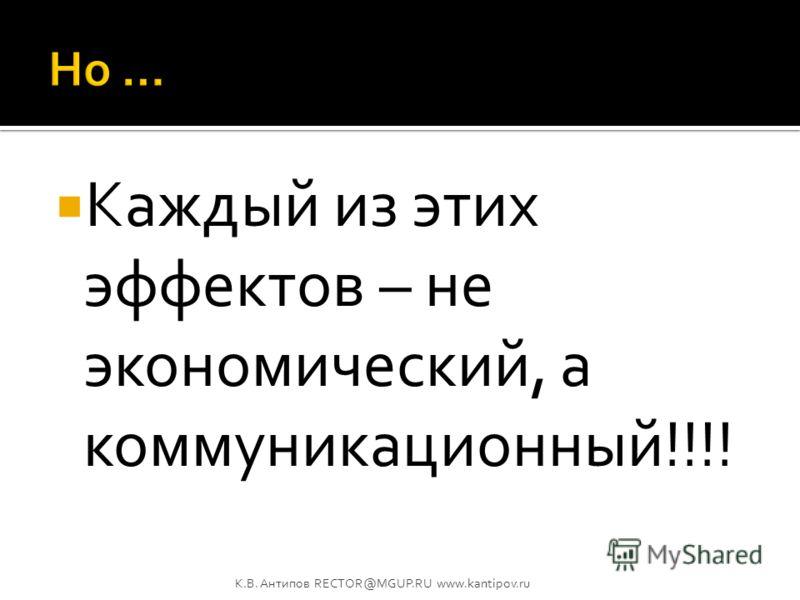 Реклама создает предпосылки к извлечению сбытового потенциала. Реклама трансформирует отношение к объекту рекламы. Реклама может даже побуждать к конкретным действиям по отношению к объекту рекламы, но… К.В. Антипов RECTOR@MGUP.RU www.kantipov.ru