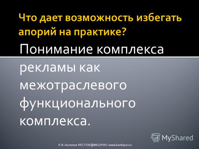 Понимание комплекса рекламы как экономической категории. К.В. Антипов RECTOR@MGUP.RU www.kantipov.ru