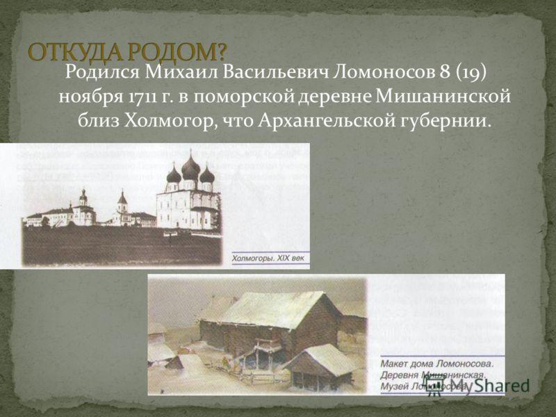 Родился Михаил Васильевич Ломоносов 8 (19) ноября 1711 г. в поморской деревне Мишанинской близ Холмогор, что Архангельской губернии.