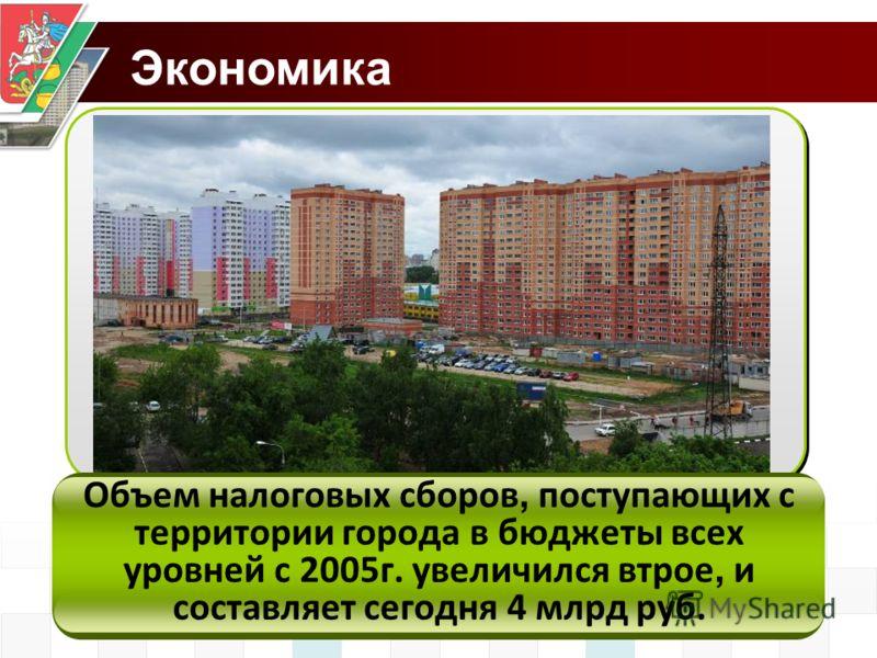 Экономика Объем налоговых сборов, поступающих с территории города в бюджеты всех уровней с 2005г. увеличился втрое, и составляет сегодня 4 млрд руб.