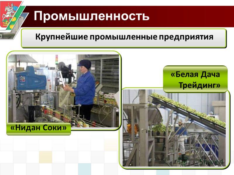 Промышленность Крупнейшие промышленные предприятия «Нидан Соки» «Белая Дача Трейдинг»