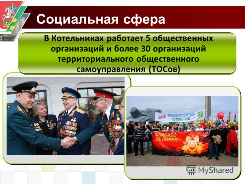 Социальная сфера В Котельниках работает 5 общественных организаций и более 30 организаций территориального общественного самоуправления (ТОСов)