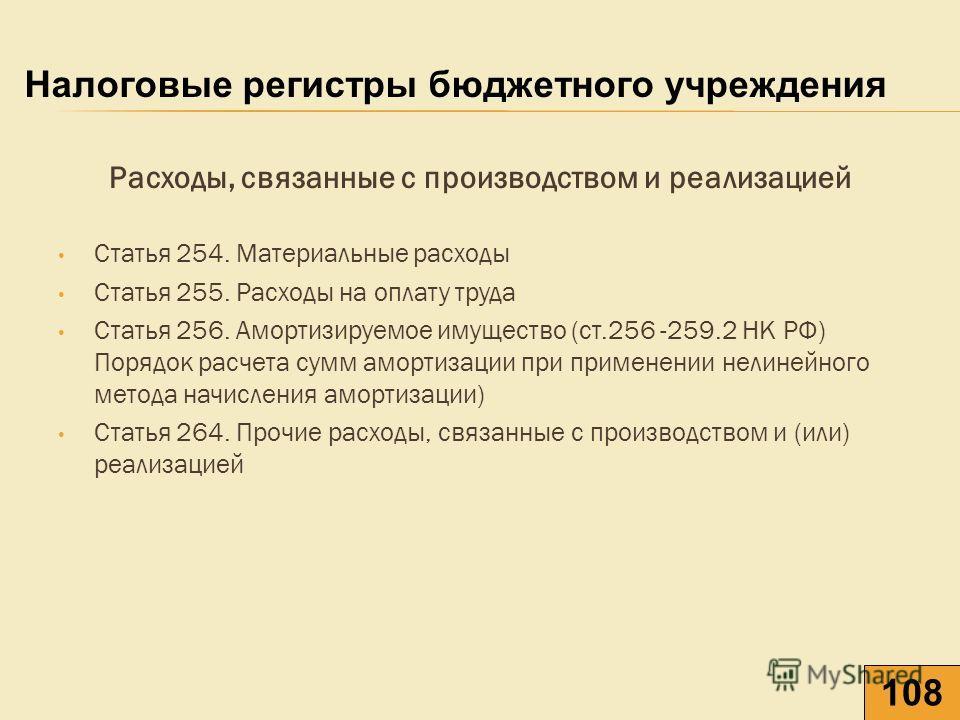 Расходы, связанные с производством и реализацией Статья 254. Материальные расходы Статья 255. Расходы на оплату труда Статья 256. Амортизируемое имущество (ст.256 -259.2 НК РФ) Порядок расчета сумм амортизации при применении нелинейного метода начисл