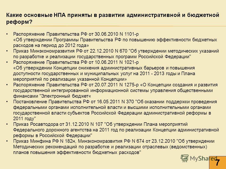 Какие основные НПА приняты в развитии административной и бюджетной реформ? Распоряжение Правительства РФ от 30.06.2010 N 1101-р «Об утверждении Программы Правительства РФ по повышению эффективности бюджетных расходов на период до 2012 года» Приказ Ми