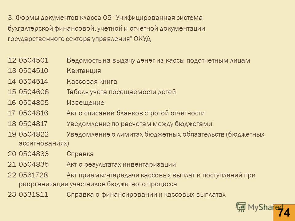 3. Формы документов класса 05