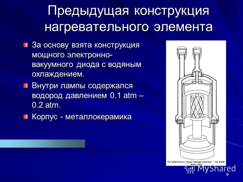 9 Предыдущая конструкция нагревательного элемента За основу взята конструкция мощного электронно- вакуумного диода с водяным охлаждением. Внутри лампы содержался водород давлением 0.1 atm – 0.2 atm. Корпус - металлокерамика