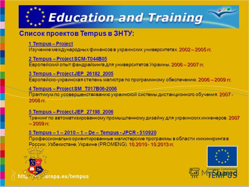www.promeng.euKick-Off Meeting, Samara – 1st December 2010 Список проектов Tempus в ЗНТУ: 1 Tempus – Project 2002 – 2005 гг. Изучение международных финансов в украинских университетах. 2002 – 2005 гг. 2 Tempus – Project SCM-Т044В05 2006 – 2007 гг. Ев