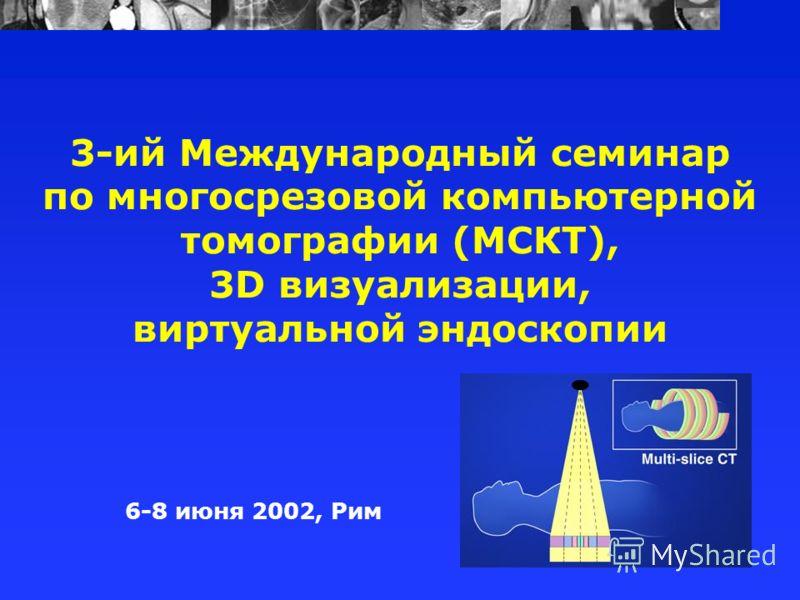 3-ий Международный семинар по многосрезовой компьютерной томографии (МСКТ), 3D визуализации, виртуальной эндоскопии 6-8 июня 2002, Рим