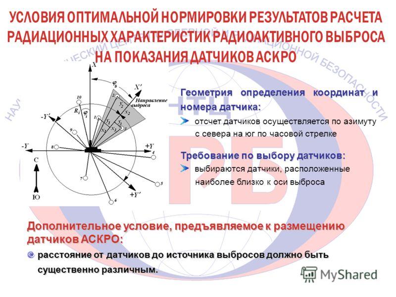 Геометрия определения координат и номера датчика: отсчет датчиков осуществляется по азимуту с севера на юг по часовой стрелке Требование по выбору датчиков: выбираются датчики, расположенные наиболее близко к оси выброса Дополнительное условие, предъ