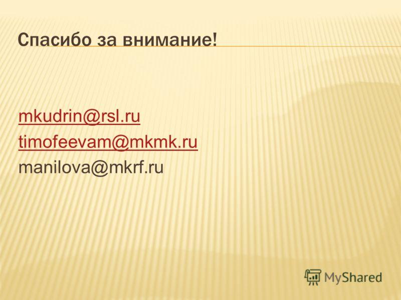 Спасибо за внимание! mkudrin@rsl.ru timofeevam@mkmk.ru manilova@mkrf.ru