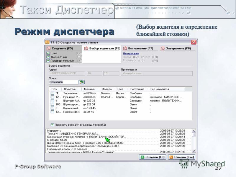 F-Group Software 36 Режим диспетчера При обработке заказа водитель назначается в закладке «Выбор водителя» окна создания нового заказа, где указаны параметры доступных водителей и их местоположение В закладке «Выполнение» отслеживаются стадии и время