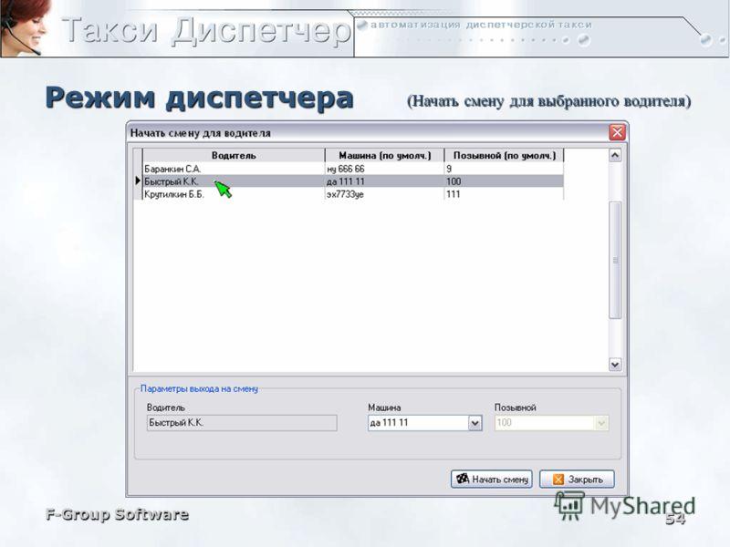 F-Group Software 53 Режим диспетчера (Список водителей)
