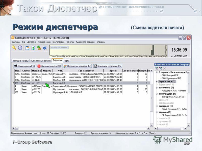 F-Group Software 54 Режим диспетчера (Начать смену для выбранного водителя)