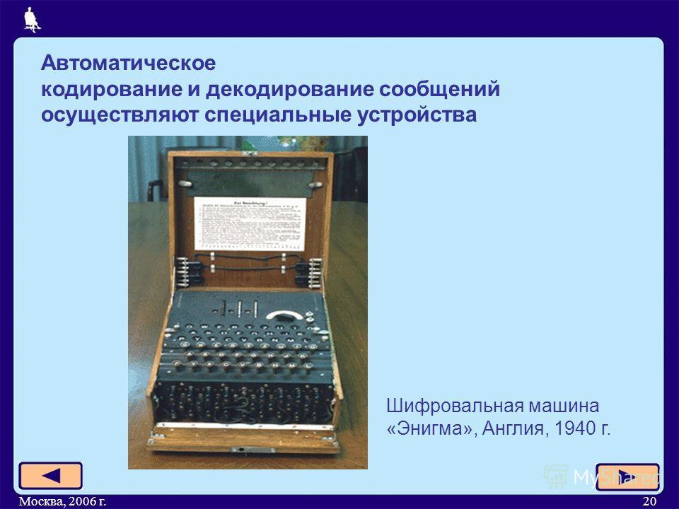 Москва, 2006 г.20 Автоматическое кодирование и декодирование сообщений осуществляют специальные устройства Шифровальная машина «Энигма», Англия, 1940 г.
