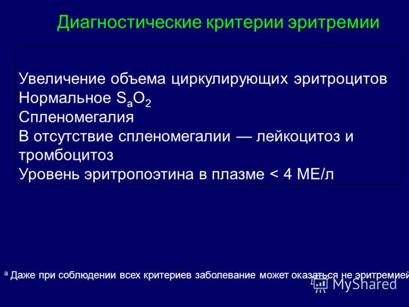 Диагностические критерии эритремии Увеличение объема циркулирующих эритроцитов Нормальное S a O 2 Спленомегалия В отсутствие спленомегалии лейкоцитоз и тромбоцитоз Уровень эритропоэтина в плазме < 4 МЕ/л а Даже при соблюдении всех критериев заболеван