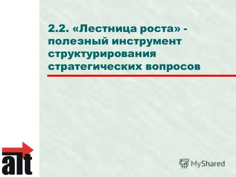 2.2. «Лестница роста» - полезный инструмент структурирования стратегических вопросов