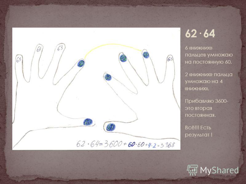6 «нижних» пальцев умножаю на постоянную 60, 2 «нижних» пальца умножаю на 4 «нижних», Прибавляю 3600- это вторая постоянная. Всё!!! Есть результат !