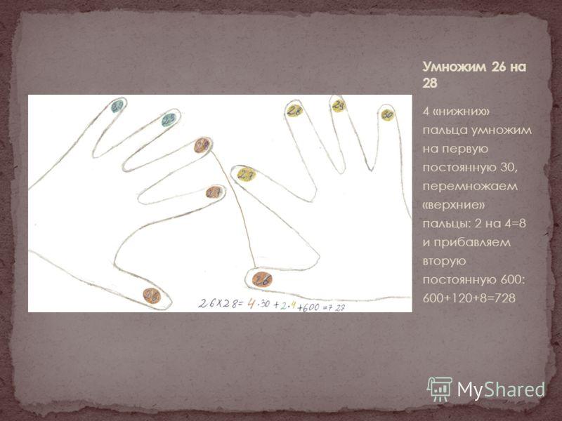 4 «нижних» пальца умножим на первую постоянную 30, перемножаем «верхние» пальцы: 2 на 4=8 и прибавляем вторую постоянную 600: 600+120+8=728