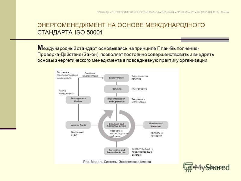 М еждународный стандарт, основываясь на принципе План-Выполнение- Проверка-Действие (Закон), позволяет постоянно совершенствовать и внедрять основы энергетического менеджмента в повседневную практику организации. ЭНЕРГОМЕНЕДЖМЕНТ НА ОСНОВЕ МЕЖДУНАРОД