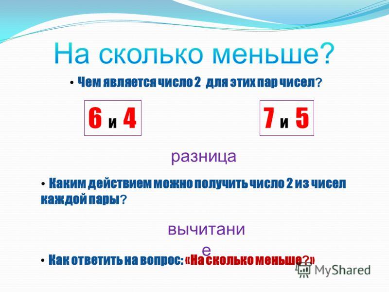 Чем является число 2 для этих пар чисел ? 6 и 46 и 47 и 5 Каким действием можно получить число 2 из чисел каждой пары ? Как ответить на вопрос: «На сколько меньше ? » разница вычитани е
