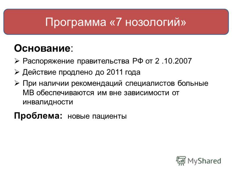 Программа «7 нозологий» Основание: Распоряжение правительства РФ от 2.10.2007 Действие продлено до 2011 года При наличии рекомендаций специалистов больные МВ обеспечиваются им вне зависимости от инвалидности Проблема: новые пациенты
