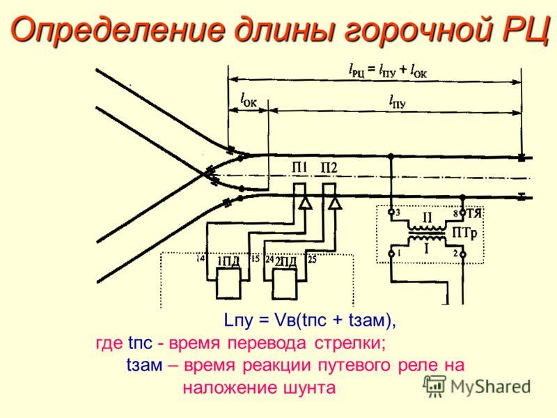 Определение длины горочной РЦ Lпу = Vв(tпс + tзам), где tпс - время перевода стрелки; tзам – время реакции путевого реле на наложение шунта