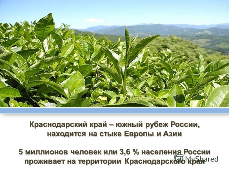 Краснодарский край – южный рубеж России, находится на стыке Европы и Азии 5 миллионов человек или 3,6 % населения России проживает на территории Краснодарского края