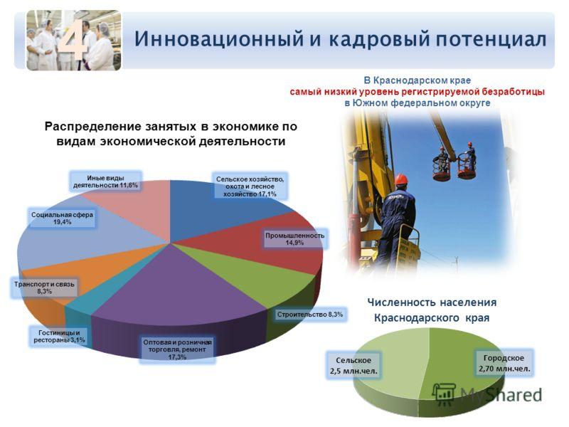 Инновационный и кадровый потенциал В Краснодарском крае самый низкий уровень регистрируемой безработицы в Южном федеральном округе 4