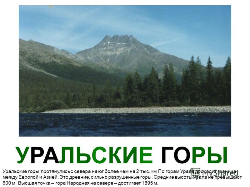 УРАЛЬСКИЕ ГОРЫ Уральские горы протянулись с севера на юг более чем на 2 тыс. км По горам Урала проходит граница между Европой и Азией. Это древние, сильно разрушенные горы. Средние высоты Урала не превышают 600 м. Высшая точка – гора Народная на севе