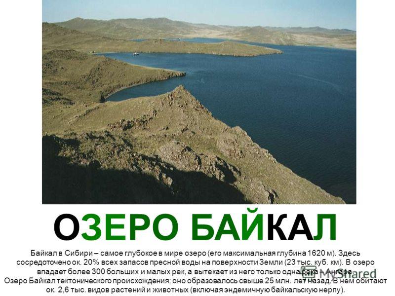 ОЗЕРО БАЙКАЛ Байкал в Сибири – самое глубокое в мире озеро (его максимальная глубина 1620 м). Здесь сосредоточено ок. 20% всех запасов пресной воды на поверхности Земли (23 тыс. куб. км). В озеро впадает более 300 больших и малых рек, а вытекает из н