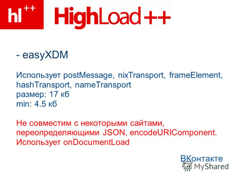 - easyXDM ВКонтакте Использует postMessage, nixTransport, frameElement, hashTransport, nameTransport размер: 17 кб min: 4.5 кб Не совместим с некоторыми сайтами, переопределяющими JSON, encodeURIComponent. Использует onDocumentLoad
