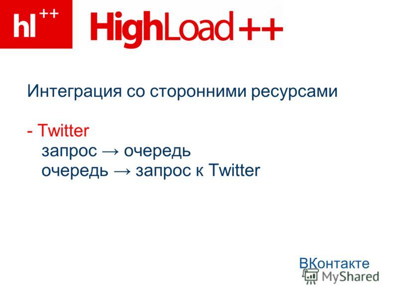 Интеграция со сторонними ресурсами - Twitter запрос очередь очередь запрос к Twitter ВКонтакте