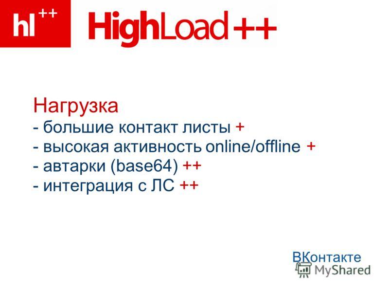 Нагрузка - большие контакт листы + - высокая активность online/offline + - автарки (base64) ++ - интеграция с ЛС ++ ВКонтакте