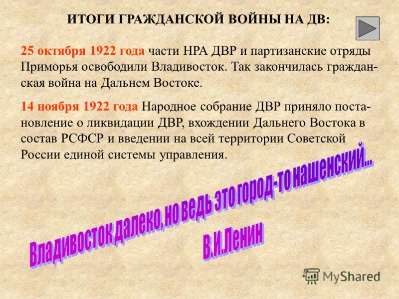 7. 6 апреля 1920 г. – образование ДВР 8. 10 февраля 1922г. – бои под Волочаевкой и Новоспасской.Волочаевкой и Новоспасской. 9. 12 февраля 1922 г. – освобождение Хабаровска частями НРА 10. Октябрь 1922 г.- наступление частей НРА и партизан в Южном При