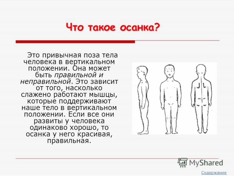 Это привычная поза тела человека в вертикальном положении. Она может быть правильной и неправильной. Это зависит от того, насколько слажено работают мышцы, которые поддерживают наше тело в вертикальном положении. Если все они развиты у человека одина