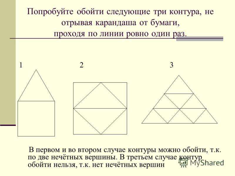 Попробуйте обойти следующие три контура, не отрывая карандаша от бумаги, проходя по линии ровно один раз. 1 2 3 В первом и во втором случае контуры можно обойти, т.к. по две нечётных вершины. В третьем случае контур обойти нельзя, т.к. нет нечётных в