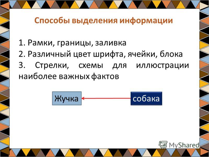 Способы выделения информации 1. Рамки, границы, заливка 2. Различный цвет шрифта, ячейки, блока 3. Стрелки, схемы для иллюстрации наиболее важных фактов Жучка собака